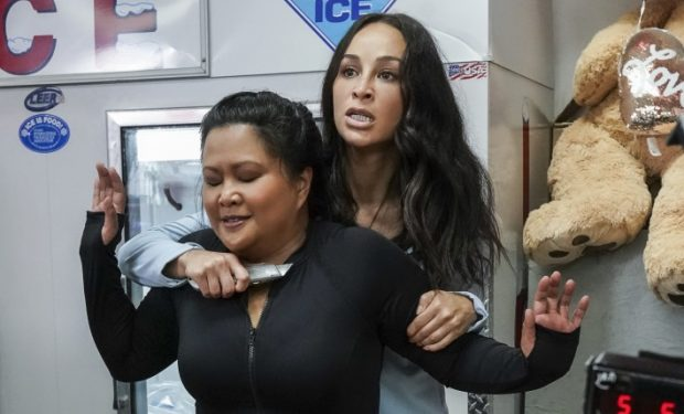 """He kauwā ke kanaka na ke aloha"" -- On Valentine's Day, Tani and Noelani are held hostage during a convenience store robbery. Also, Five-0 investigates the murder of a Thai diplomat whose wife confesses to the crime, but Danny suspects she's covering for the real killer, on HAWAII FIVE-0 Friday, Feb. 14 (9:00-10:00 PM, ET/PT) on the CBS Television Network. Pictured L to R: Kimee Balmilero as Dr. Noelani Cunha, and Cara Santana as Bonnie. Photo: Karen Neal/CBS ©2019 CBS Broadcasting, Inc. All Rights Reserved. (""He kauwā ke kanaka na ke aloha"" is Hawaiian for ""Man is a slave of love."")"