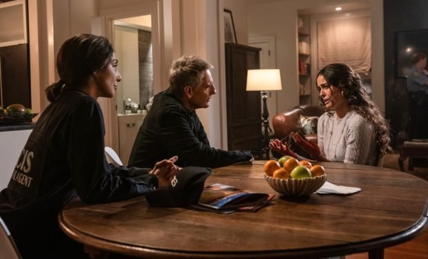 """The Root of All Evil"" - The team investigates the murder of a JAG Captain who was killed in his home and discovered by his daughter, the only heir to his large estate. Also, Sebastian is intimidated when he is put in charge of a team on his first day of REACT training, on ""NCIS: NEW ORLEANS"" Sunday, March 1 (10:00-11:00 PM, ET/PT) on the CBS Television Network. Pictured L-R: Necar Zadegan as Special Agent Hannah Khoury, Scott Bakula as Special Agent Dwayne Pride, and Chelsea Gilligan as Selina Garrett Photo: Sam Lothridge/CBS ©2019 CBS Broadcasting, Inc. All Rights Reserved"
