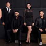 "SHAHS OF SUNSET -- Season:6 -- Pictured: (l-r) Golnesa ""GG"" Gharachedaghi, Reza Farahan, Mike Shouted, Destiney Rose, Nema Vand, Mercedes ""MJ"" Javid -- (Photo by: John Tsiavis/Bravo)"
