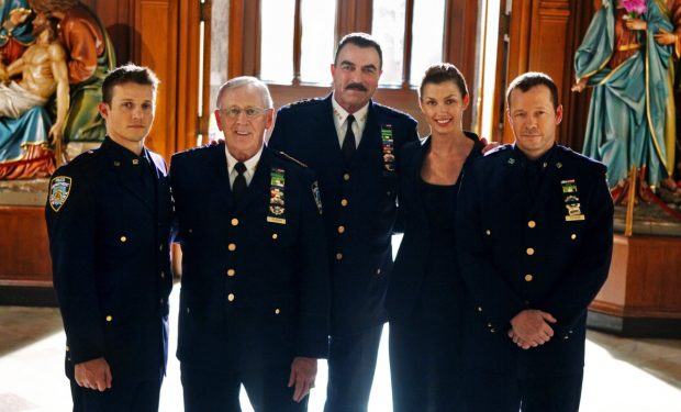 """Officer Down"" -- (L-R) The Regan family all in blue. Jamie (Will Estes), Henry (Len Cariou), Frank(Tom Selleck), Erin (Bridget Moynahan) and Danny (Donnie Wahlberg). BLUE BLOODS airs on Fridays at (10:00-11:00 PM, ET/PT) on the CBS Television Network. Photo: Craig Blankenhorn/CBS©2010CBS Broadcasting Inc. All Rights Reserved #105 FOR EDITORIAL USE ONLY"
